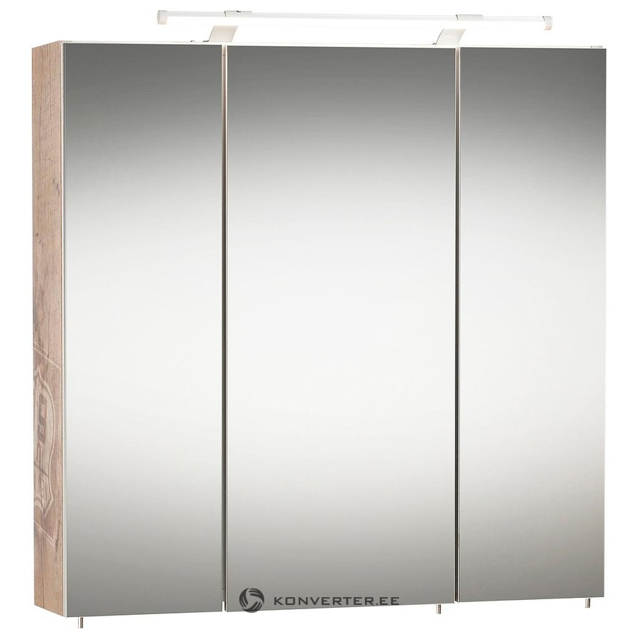Brown White 3 Mirrored Door And Led Illuminated Wall Cabinet 70cm Width Konverter Outlet