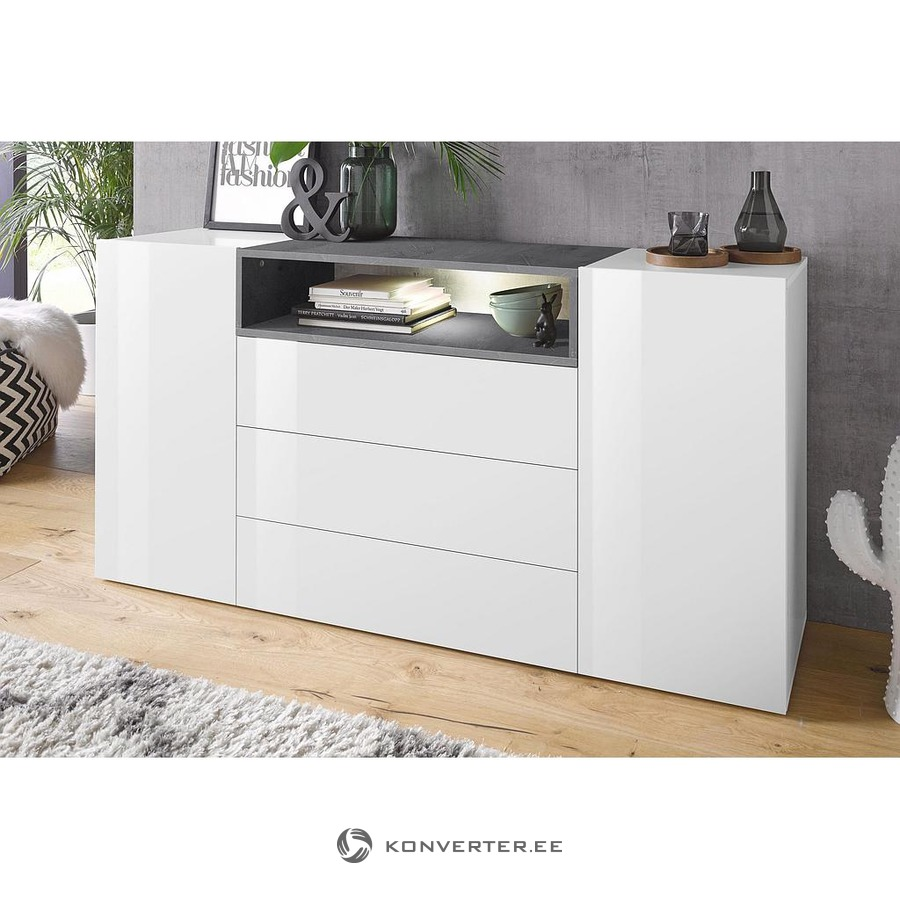 new concept f4d4a cf3f9 White-gray high gloss chest of drawers (width 160cm) - Konverter Outlet